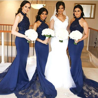 Wholesale sexy trumpet halter wedding dresses for sale - Group buy 2019 Navy Blue Sexy Halter Lace Top Mermaid Bridesmaid Dresses Satin Applique Sweep Train Wedding Guest Maid Of Honor Dresses BM0906