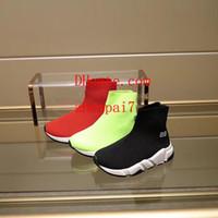 mocasines para niñas al por mayor-2019 Paris Stretch boys girls Knit Mid Sneakers Calcetines Zapatos Casual Mocasines Running Shoes Sneakers para niños Botas deportivas yz-1
