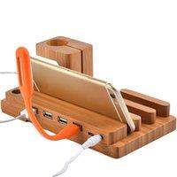 relógio de moda usb venda por atacado-Moda multifuncional de bambu usb docking dock telefone tablet titular mount para apple watch phone holder