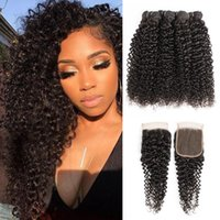 Wholesale inch brazilian jerry curl hair for sale - Group buy Brazilian Jerry Curl Hair Bundles With Closure Natural Color Bundles with x4 Lace Closure Inch Remy Human Hair Extensions