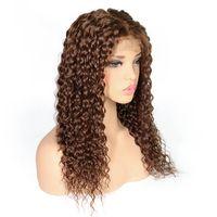 açık kahverengi indian saç toptan satış-Tam dantel peruk Dantel Ön peruk Kıvırcık ışık koyu kahverengi renk bebek saç Öncesi Koparıp Doğal Saç Çizgisi Malezya Hint Brezilyalı Perulu Saç