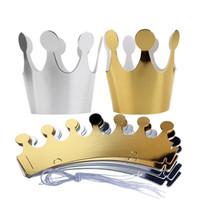 coronas de papel dorado al por mayor-Niños adultos feliz cumpleaños sombreros de papel gorra princesa princesa corona decoración del partido para niño niña plata oro corona