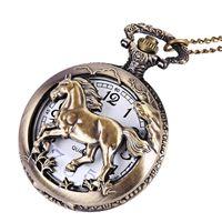 женские ожерелья оптовых-Fashion Bronze Mens Womens Pocket Watch Fine Horse Retro Style Necklace Chain Quartz Pocket Fob Watches Unisex Relogio Masulino