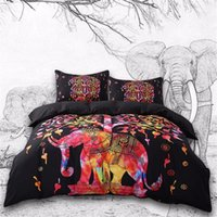 Wholesale tree king size bedding sets for sale - Group buy Colored Elephant Bedding Set Tree Pattern Bohemia Bedspread Black Bed Cover USA Size