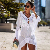 Wholesale robes plage online - 2019 Crochet White Knitted Beach Cover up dress Tunic Long Pareos Bikinis Cover ups Swim Cover up Robe Plage Beachwear