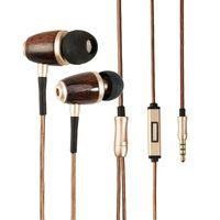 intelligente kopfhörerdrähte großhandel-Holz ohrhörer 3,5mm in-ohr verdrahtete kopfhörer stereo kopfhörer mit mikrofon für iphone samsung xiaomi smartphones