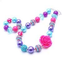 kinder halskette große perlen großhandel-Blaugrün + Hot Pink Kid klobige NecklaceBracelet Set Big Rose Blume Kinder Mädchen Kleinkind Bubblegum klobige Perlen Halskette Schmuck-Set