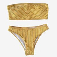 ingrosso bikini bandeau-Sexy Bikini a fascia donna Costume da bagno 2019 Beach Wear Costumi da bagno Femminile Brasiliano Biquinis Tube Top Ragazze Costumi da bagno Tuta da bagno