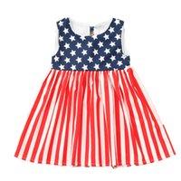 ingrosso vestiti 4 luglio-Vestito da bambino a righe per bambini Vestito con laccetti sul retro Vestito senza maniche con stelle stampate Vestito con bandiera americana Independence National Day USA 4 luglio