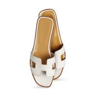 Wholesale open toe slippers heel for sale - Group buy womens designer oran leather sandals mule girls street fashion open toe flat slippers flip flops size euro