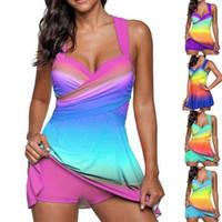 Wholesale women conservative swimwear online - Women gradient skirt printed swimsuit set two piece bathing suit sexy conservative swimwear colorful types outdoors beach wear LJJQ134