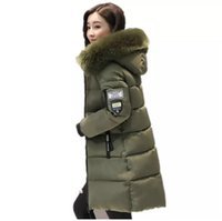 Wholesale plus size down quilted jackets resale online - Fashion Hooded Quilted Warm Fur Coat Winter Jacket Woman Solid Color Zipper Down Coon Parka Plus Size XL Outwear