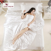 Wholesale single size bedding sets online - Slowdream Bed Linen Set Silk Satin Solid Color Duvet Cover Set Flat Sheet Bedspread Double Single Twin King Size Bedding