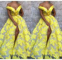 padrões de vestidos de noite sexy venda por atacado-Sexy amarelo vestido de noite padrão floral dividir vestido de baile vestidos de noite até o chão de luxo design vestidos de baile robe de soiree abendkleider