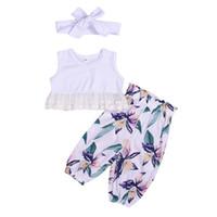 детские цветочные жилеты оптовых-Новорожденный девочка оголовье 3 шт. комплект одежды дети новорожденных девочек кружева жилет цветочные печати брюки
