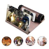 cep telefonu videoları toptan satış-12 inç Ahşap Ekran Büyüteç Yükseltilmiş HD Yüksek Çözünürlüklü 3D Ahşap Tahıl Ile Cep Telefonu Video Anti-radyasyon Ekran Amplifikatör Standı
