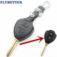 toyota camry tuşları toptan satış-FLYBETTER Hakiki Deri 2 Düğme Anahtar Kılıfı Için Toyota Avensis / Avalon / Hilux / Rav4 / Corolla / Camry / Tarago / Yaris / Prado Araba Styling L2095
