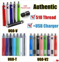 inimigo do rei venda por atacado-1Pcs Authentic UGO T V II 510 Tópico Vape bateria EVOD eGo Micro USB Passthrough 650 900 1100 mAh vaporizador com carregador Fit Vape Cartuchos