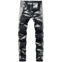 pantolon pantolonu toptan satış-Gri Noktalar Düzenli Erkek Kot Moda Streç Uzun Kalem Tasarımcı Pantolon Orta Bel Baskı Erkek Pantolon