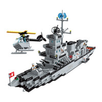 Wholesale military carrier resale online - Building blocks small particle boy assembles aircraft carrier model years old children toy military cruise ship