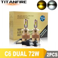 Wholesale conversion car for sale - Group buy TF30 LED Headlights Dual Bulbs Gold Conversion Kit Light W LM H1 H3 H4 H7 HB3 HB4 Auto C6 COB Car K