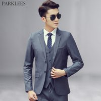 neue kostüme für männer großhandel-3 Stück Grau Anzug Männer 2019 Brand New Einreiher Zwei Taste Herrenanzüge Mit Hosen Business Casual Smoking Anzug Kostüm Homme