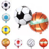 hochzeitsfußball großhandel-18 zoll Fußball Ballons Aluminiumfolie Luftballon runde Ballons Hochzeit Baby Geburtstag Ballon Party home outdoor decor 4953