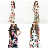 Wholesale baby girl cool clothes online - Babies Grounds Skirt Flower Printing Colors Beach Long Evening Dresses Summer Girls Sweet cool Home Clothing tw E1