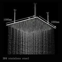 teto de aço inoxidável escovado venda por atacado-Luxo 1000mm 40 Polegadas Grande Chuva Chuveiro Montado No Teto Banho de Aço Inoxidável Inox Escovado Chuveiro 20180927 #