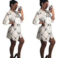 ingrosso gonne di disegno di modo-Womens camicia di marca colletto della camicia a maniche lunghe vestito abito di moda autunno superiore del pannello esterno della stampa della lettera di design e abbigliamento invernale nuovo grande formato S-XXL
