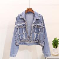 jeans effiloché pour les femmes achat en gros de-Manteau d'automne à manches longues effiloché Denim de la veste des femmes lourdes Rivet Vintage Jeans veste femmes coréennes sauvages Harajuku femmes manteau de base