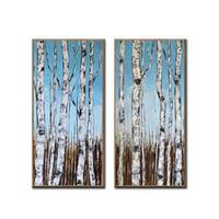 pinturas forestales pinturas al óleo al por mayor-100% pintados a mano 2 paneles aceite de árbol del arte del bosque Pintura más nuevas pinturas de arte pared de la lona Pinturas abstractas Inicio decoración de la pared