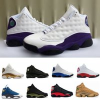 Wholesale green cap la for sale - Group buy 13 Designer Cap Sneakers New Mens And Gown Black Cat La White Purple Grey Basketball Shoes White Women Chicago Red Xiii Trainer Sneakers