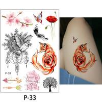 peonies tätowierung großhandel-Mode Pfingstrose Blume Tattoo sexy wasserdicht 1 Blatt temporäre Tätowierung Aufkleber Pflaumenblüte Design DIY Arm Körper Bikini Dekoration