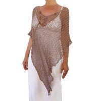 cbf108c15fadd Feitong Blouse Women Sexy Crochet Beach Cover Up O-Neck Fishnet Sarong Wrap  Bikini Handmade Smock Blouse blusa feminina renda
