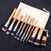 logos de cosméticos de belleza al por mayor-Cepillos del maquillaje de bambú Fundación pelo sintético 11pcs / set manija de bambú en polvo Kabuki maquillaje LOGO sistema de cepillo cosmético de belleza Herramienta personalizada