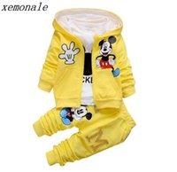 kız için yeni eşofman toptan satış-2019 Yeni Çocuk Kız Erkek Moda Giyim Setleri Sonbahar Kış 2 Parça Suit Kapşonlu Coat Giyim Bebek Pamuk Marka Eşofman Y19AL
