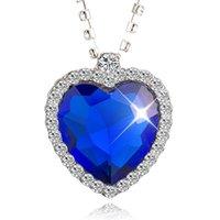 ingrosso collana del mare di cuore-jingyang High Product Sea-blue In Numero Ocean Of Heart Ornaments Flash Drill collane di gioielli di moda in argento