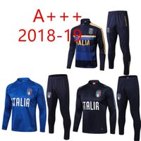 Wholesale italy soccer tracksuit for sale - Group buy 2018 football Survetement Italy tracksuit italia training suit kits Soccer Chandal italian training shinny tight pants sweater sh