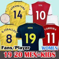 camisa de futebol vermelho venda por atacado-HOMENS 2019 2020 Red  Soccer Jersey Arsenal Camisas de futebol  19 20 HENRY camisa de futebol 2019 2020 DAVID LUIZ maillot de foot third camisas