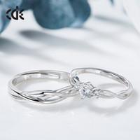 pareja anillo de plata de ley par al por mayor-Cdyle Silver sterling S925 Sterling pares de parejas de moda Moda Circón Anillos de plata Comercio de fábrica al por mayor Moderno Campus Wind Lover regalo
