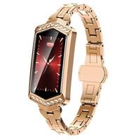 herzgürtel ansehen großhandel-B78 Smart Armband Druckmessung Uhr mit Herzfrequenz Diamant Stahlgürtel Verbinden Sie Android IOS Fitness Tracker