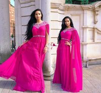 Wholesale two piece evening dress online - Fuchsia Kaftan Caftan Evening Formal Dresses with Long Sleeve Luxury Beaded Crystal Detail Arabic Abaya Occasion Prom Dress