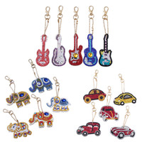 Wholesale key guitars for sale - Group buy DIY Full Special Shaped Diamond Painting Car Guitar Elephant Animal Keyring Keychain Cross Stitch Embroidery Women Bag Key Chain
