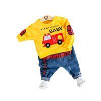 Wholesale t shirt kids cartoon cars resale online - Cartoon Car Baby Boys Casual Clothes Set for kids Cartoon Clothing For Toddler Letter T shirt Jean Pants Outfit