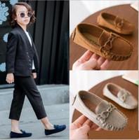 çocuklar için deri moda toptan satış-Çocuklar Moccasin Loafer'lar Ayakkabı Erkek Moda Sneakers Çocuk Masaj Rahat Ayakkabılar Çocuk Kız Düz Deri Ayakkabı Boyutu 21-35 ücretsiz kargo