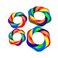 universal flowers 도매-레인보우 캔디 색상 풍선 플로트 꽃 패턴 두꺼운 수영 반지 성인 키즈 유니버설 안티 착용 휴대용 뜨거운 판매 7kl4l1