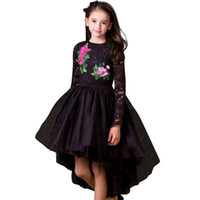 bordado de encaje negro al por mayor-Venta al por menor vestido de niña bebé bordado de flores de encaje sirena vestidos de noche negros falda de fiesta para niños tutu boutique de niños ropa de lujo