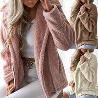 bej oyuncak ayı toptan satış-Rahat Faux Kürk Kadın Pembe Sonbahar Kış Büyük Boy Sıcak Sıcak Polar Ceket Katı Giyim Ayı Teddy Coat Bej Palto