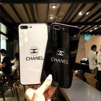 materiais para iphone venda por atacado-Moda caso de telefone móvel iPhone 7 8 X Xr XS caso protetor de graffiti caso de telefone móvel TPU material de vidro temperado
